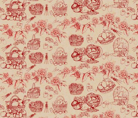 Toile_de_Jouy__vegetables_ fabric by kirpa on Spoonflower - custom fabric