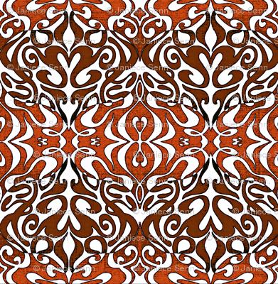 Warp pattern in rich red browns