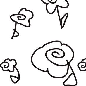 Mod Doodle Flowers Black & White