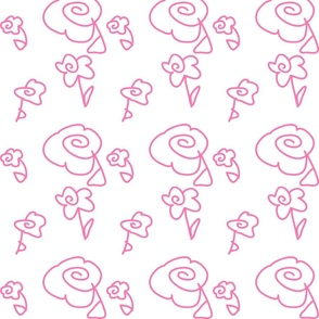 Mini Mod Doodle Flowers Pink