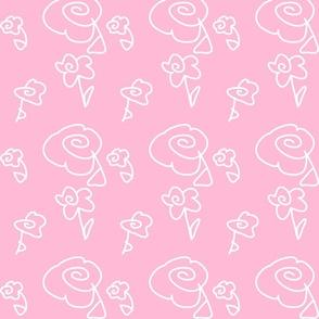 Mini Mod Doodle Flowers Pink Background
