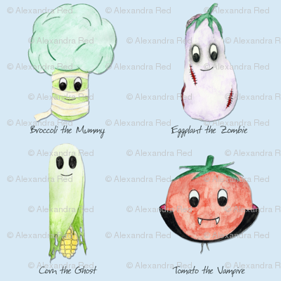Spooky Vegetables on Blue