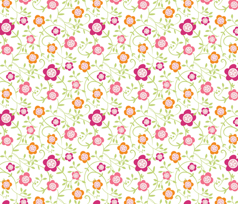 Button Flower Vine fabric by jillbyers on Spoonflower - custom fabric