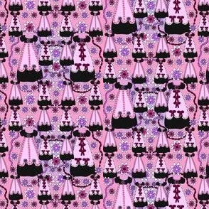 Victorian Long Black and Pink Dresses Collage Fabric