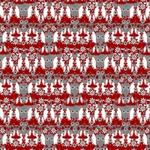 Victorian Red,Gray, and White Dresses Collage Fabric