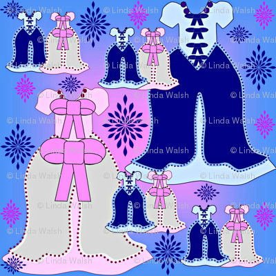 Victorian Pink and Blue Dresses Collage Fabric