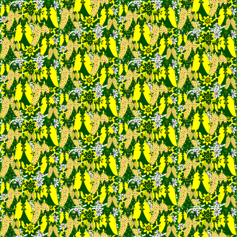 Victorian Green and Yellow Dresses Collage Fabric fabric by lworiginals on Spoonflower - custom fabric