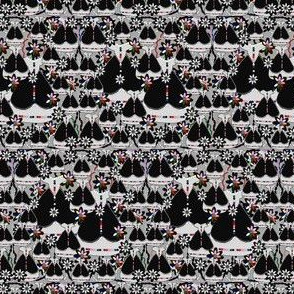 Victorian Gray and Black Dresses Collage Fabric