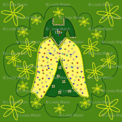 Victorian Green and Yellow Dress Fabric #2