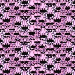 Victorian Black  and Pink Dress Fabric #1