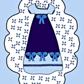 Victorian Blue Dresses Fabric #2