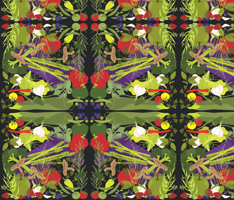 FARM FRESH FABRIC on black fabric by linda_santell on Spoonflower - custom fabric