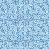 Paisley flowers sky blue