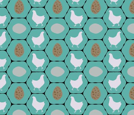 Chicken Coop - Hens & Eggs  fabric by lauriekentdesigns on Spoonflower - custom fabric