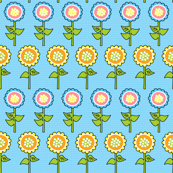 Yellow, Blue, Pink & Orange Retro Flower Print 1