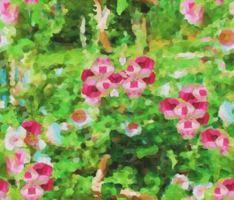 Painted Hollyhocks fabric by anniedeb on Spoonflower - custom fabric