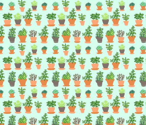 Windowsill Garden Cyan fabric by hugandkiss on Spoonflower - custom fabric