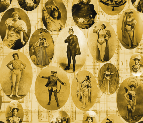 1890's British Actress Vignettes: Sepia fabric by callioperosehandcarjones on Spoonflower - custom fabric