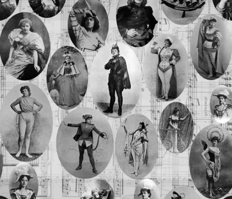 1890's British Actress Vignettes: Black  fabric by callioperosehandcarjones on Spoonflower - custom fabric