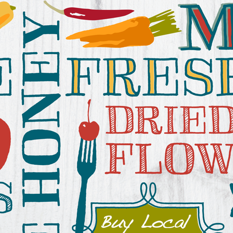 Farm Fresh Market Signage fabric by mariafaithgarcia on Spoonflower - custom fabric