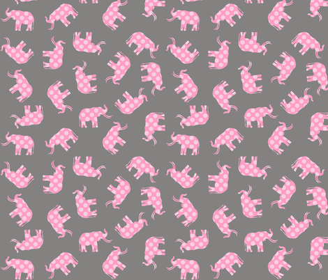 Pink Polka Elephant fabric by smuk on Spoonflower - custom fabric