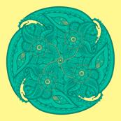 Paisley circle small teal and yellow