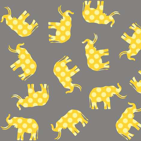 Yellow Polka Elephant fabric by smuk on Spoonflower - custom fabric