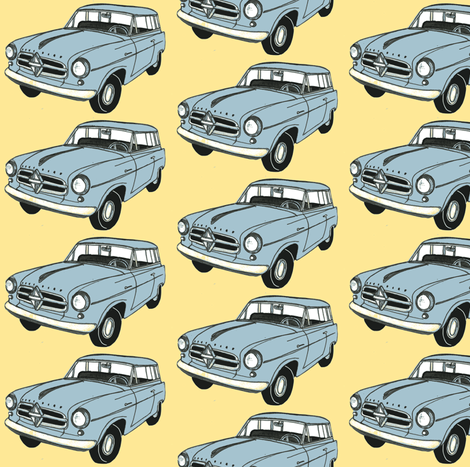 1950's Borgward station wagon from Germany fabric by edsel2084 on Spoonflower - custom fabric