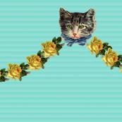 Hello Kitten on Soft Teal Shadow Stripe