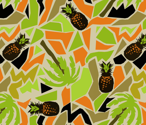 ananas and palm fabric by susiprint on Spoonflower - custom fabric