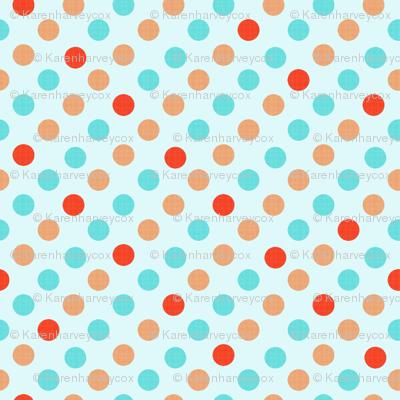 Polka Dot Fun, aqua background