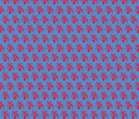 bee_balm_red_on_blue fabric by tangledvinestudio on Spoonflower - custom fabric