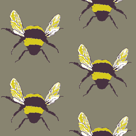 midsummer bee taupe fabric by paragonstudios on Spoonflower - custom fabric