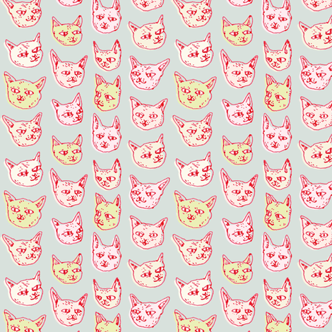 Gritty Kitties | Packed fabric by imaginaryanimal on Spoonflower - custom fabric
