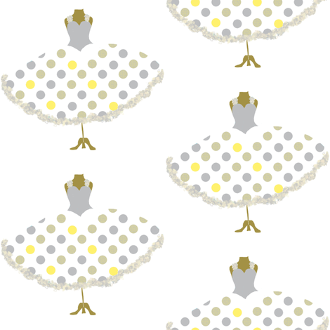 Polka Dot Frock Yellow fabric by karenharveycox on Spoonflower - custom fabric