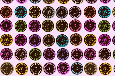 Black Papel Picado Suns fabric by boris_thumbkin on Spoonflower - custom fabric