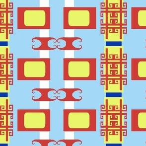 Chinoiserie Fretwork TV Stripes