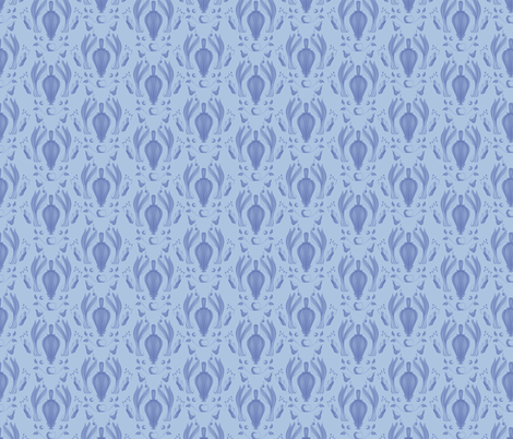 farmers_market_damask_-_blue fabric by crowlands on Spoonflower - custom fabric