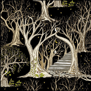 Spooky Trees in the Deep Black Forest- 4 X Fat Quarter Panels