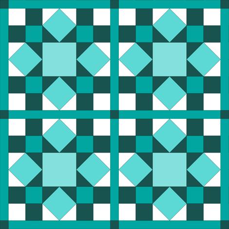 I Spy Dolly Windows -  Aqua & Teal Mini Quilt fabric by rhondadesigns on Spoonflower - custom fabric