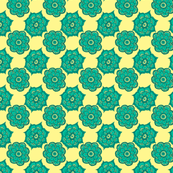 Paisley flowers teal and yellow