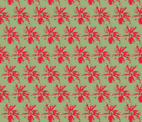 bee_balm_lipstick_on_lt_green fabric by tangledvinestudio on Spoonflower - custom fabric