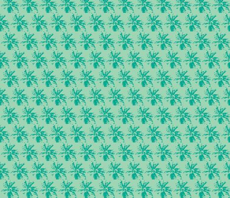 bee_balm_dk_teal_on_lt_teal fabric by tangledvinestudio on Spoonflower - custom fabric