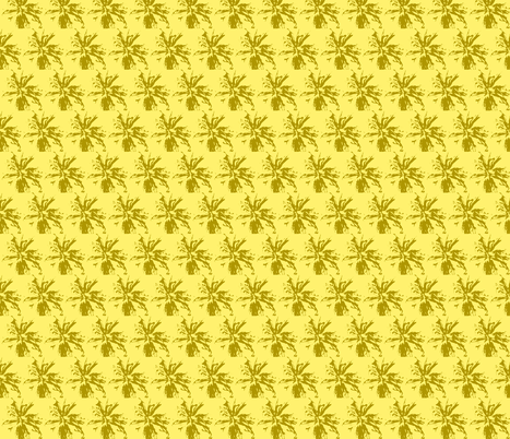 bee_balm_olive_on_pale_yellow fabric by tangledvinestudio on Spoonflower - custom fabric