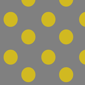 Mustard & Gray / Grey Medallion dots