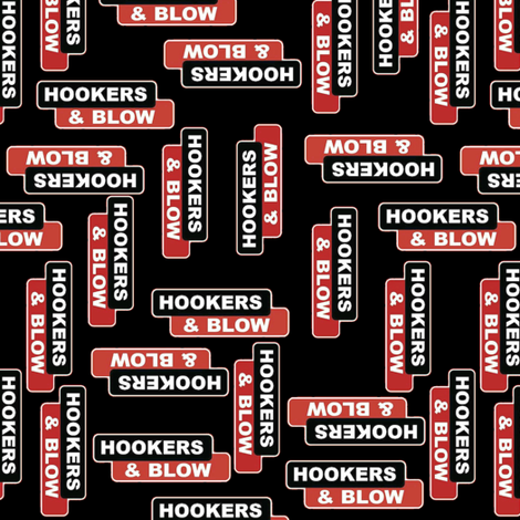 Hookers and Blow Black fabric by whimzwhirled on Spoonflower - custom fabric