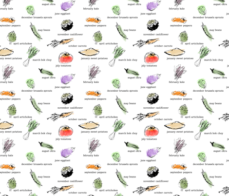 Market Vegetables by the Month fabric by tinytriangle on Spoonflower - custom fabric
