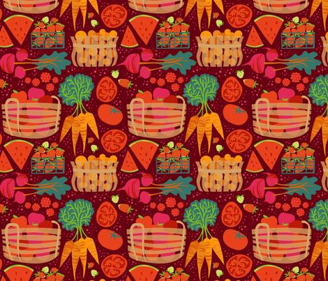 MarketLove_onDeepRed3 fabric by robinpickens on Spoonflower - custom fabric