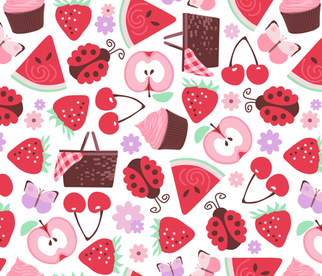A Berry Cherry Picnic fabric by mariafaithgarcia on Spoonflower - custom fabric