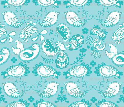 Farm Paisley Pattern Blue